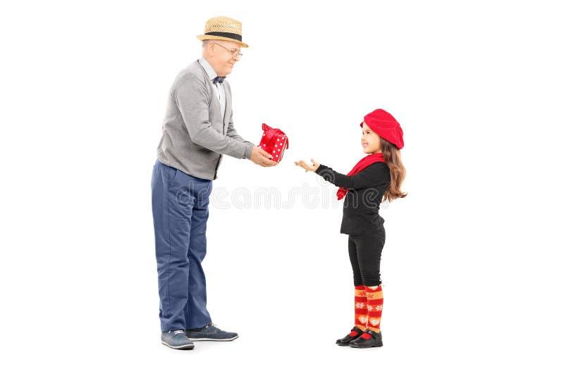 Δόσιμο παππούδων παρόν στη μικρή ανηψιά του στοκ εικόνα με δικαίωμα ελεύθερης χρήσης