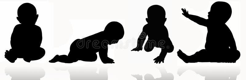 Δόσιμο της αγάπης σε μια σκιαγραφία μωρών ελεύθερη απεικόνιση δικαιώματος