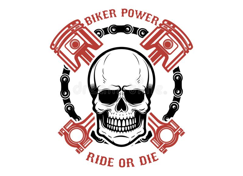 Δύναμη, γύρος ή κύβος ποδηλατών Ανθρώπινο κρανίο με τα διασχισμένα έμβολα Στοιχείο σχεδίου για το λογότυπο, ετικέτα, έμβλημα, σημ απεικόνιση αποθεμάτων