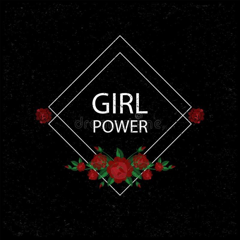 Δύναμη κοριτσιών Κεντητική με τα τριαντάφυλλα επίσης corel σύρετε το διάνυσμα απεικόνισης Ανασκόπηση Grunge Μπάλωμα λουλουδιών κε ελεύθερη απεικόνιση δικαιώματος