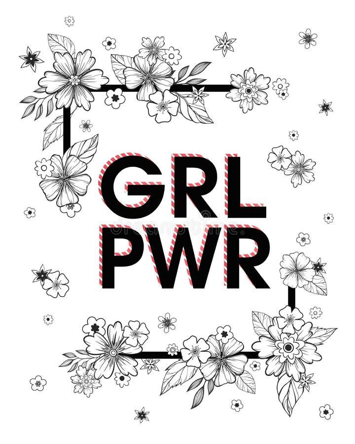 Δύναμη κοριτσιών - μοντέρνη τυπωμένη ύλη για τις μπλούζες, τις αφίσες, τις κάρτες και τις τυπωμένες ύλες ελεύθερη απεικόνιση δικαιώματος