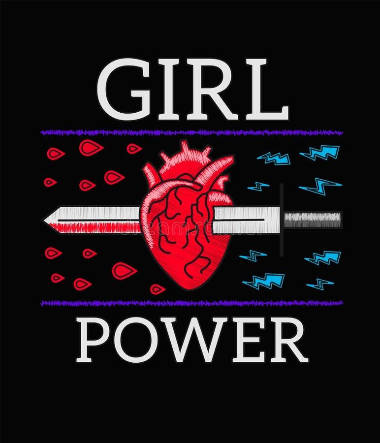 Δύναμη κοριτσιών - σύνθημα φεμινισμού, κεντητική τυπωμένων υλών βράχου για την μπλούζα, μπάλωμα μόδας ή διακριτικό Κεντητική για  ελεύθερη απεικόνιση δικαιώματος