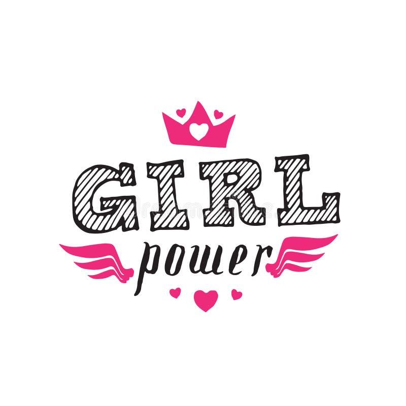 Δύναμη κοριτσιών - σύνθημα φεμινισμού με συρμένη τη χέρι εγγραφή Διάνυσμα ι διανυσματική απεικόνιση