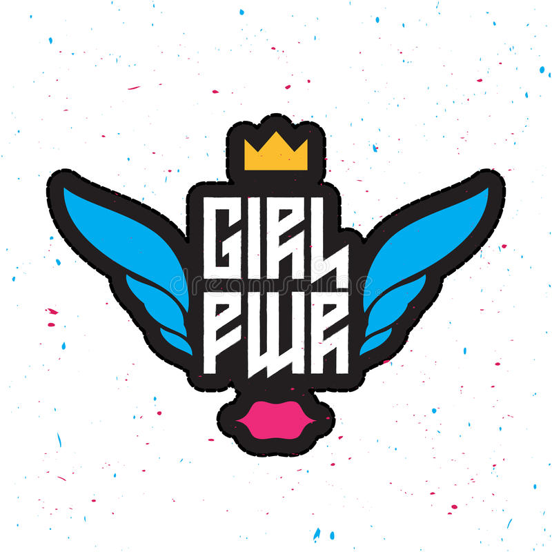 Δύναμη κοριτσιών - το φεμινιστικό σύνθημα, μοντέρνη διασκέδαση επιδιορθώνει girly απεικόνιση αποθεμάτων