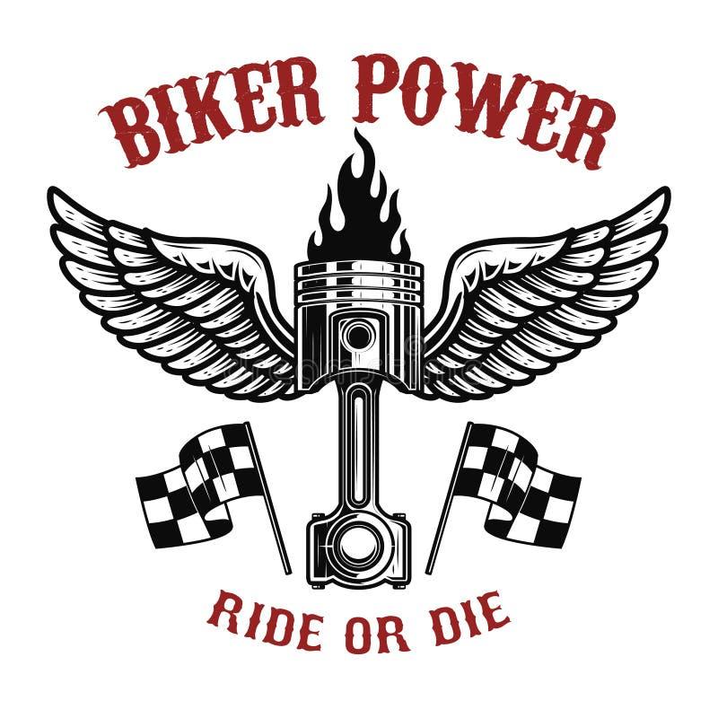 Δύναμη ποδηλατών Έμβολο με τα φτερά στο ελαφρύ υπόβαθρο Στοιχείο σχεδίου για το λογότυπο, ετικέτα, έμβλημα, σημάδι, διακριτικό, μ ελεύθερη απεικόνιση δικαιώματος