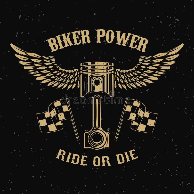 Δύναμη ποδηλατών Έμβολο με τα φτερά στο σκοτεινό υπόβαθρο απεικόνιση αποθεμάτων