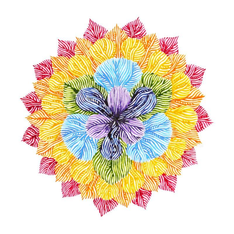Δύναμη 7 σύμβολο σημαδιών chakra χρώματος, ζωηρόχρωμο σύμβολο λουλουδιών λωτού ελεύθερη απεικόνιση δικαιώματος