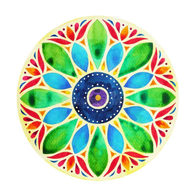 Δύναμη 7 σύμβολο σημαδιών chakra χρώματος, ζωηρόχρωμο σύμβολο λουλουδιών λωτού στοκ εικόνα