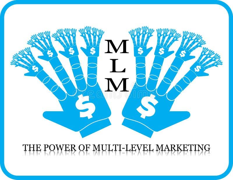 Δύναμη του πολλαπλής στάθμης χεριού μάρκετινγκ MLM διανυσματική απεικόνιση