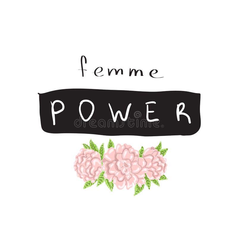 Δύναμη Femme, σύνθημα γραφικό με τη διανυσματική απεικόνιση, για τις τυπωμένες ύλες μπλουζών απεικόνιση αποθεμάτων
