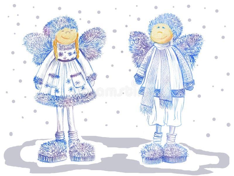 Δύο άγγελοι Χριστουγέννων χαμόγελου με τα χνουδωτά φτερά στο άσπρο υπόβαθρο ελεύθερη απεικόνιση δικαιώματος