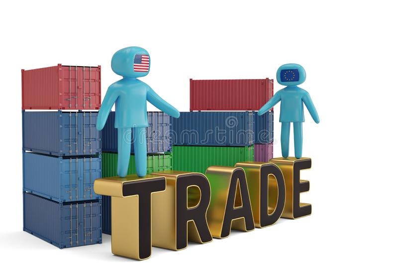 Δύο άνθρωποι αριθμού στην εμπορική επιστολή και την τρισδιάστατη απεικόνιση εμπορευματοκιβωτίων διανυσματική απεικόνιση