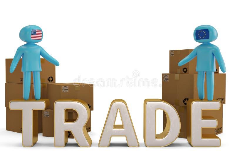 Δύο άνθρωποι αριθμού στην εμπορική επιστολή και την τρισδιάστατη απεικόνιση χαρτοκιβωτίων ελεύθερη απεικόνιση δικαιώματος