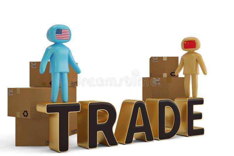 Δύο άνθρωποι αριθμού στην εμπορική επιστολή και την τρισδιάστατη απεικόνιση χαρτοκιβωτίων απεικόνιση αποθεμάτων