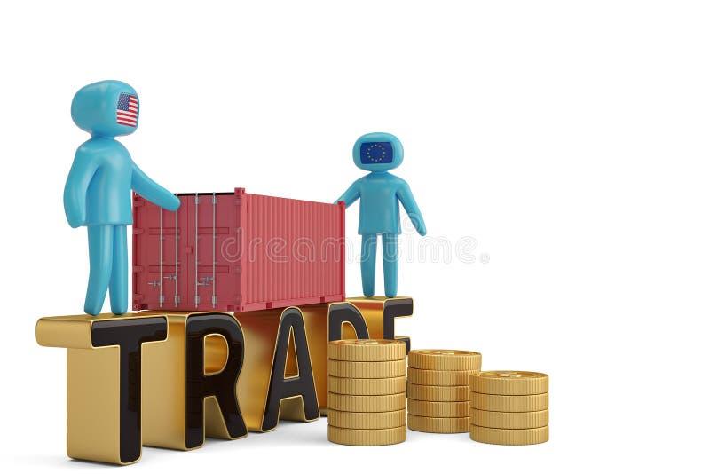 Δύο άνθρωποι αριθμού στην εμπορική επιστολή και την τρισδιάστατη απεικόνιση εμπορευματοκιβωτίων ελεύθερη απεικόνιση δικαιώματος