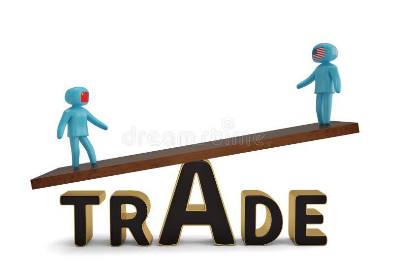 Δύο άνθρωποι αριθμού seesaw εμπορικής λέξης στην τρισδιάστατη απεικόνιση απεικόνιση αποθεμάτων