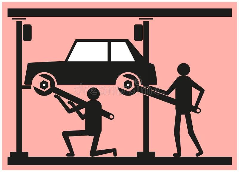 Δύο άνθρωποι επισκευάζουν το αυτοκίνητο στο πρατήριο βενζίνης διανυσματική απεικόνιση