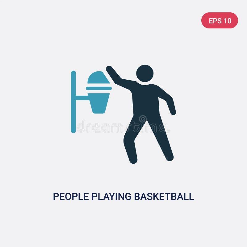 Δύο άνθρωποι χρώματος που παίζουν το διανυσματικό εικονίδιο καλαθοσφαίρισης από την ψυχαγωγική έννοια παιχνιδιών απομονωμένοι μπλ διανυσματική απεικόνιση