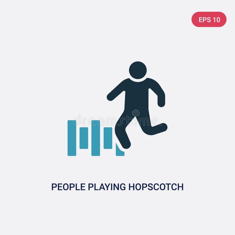 Δύο άνθρωποι χρώματος που παίζουν hopscotch το διανυσματικό εικονίδιο από την ψυχαγωγική έννοια παιχνιδιών απομονωμένοι μπλε άνθρ διανυσματική απεικόνιση