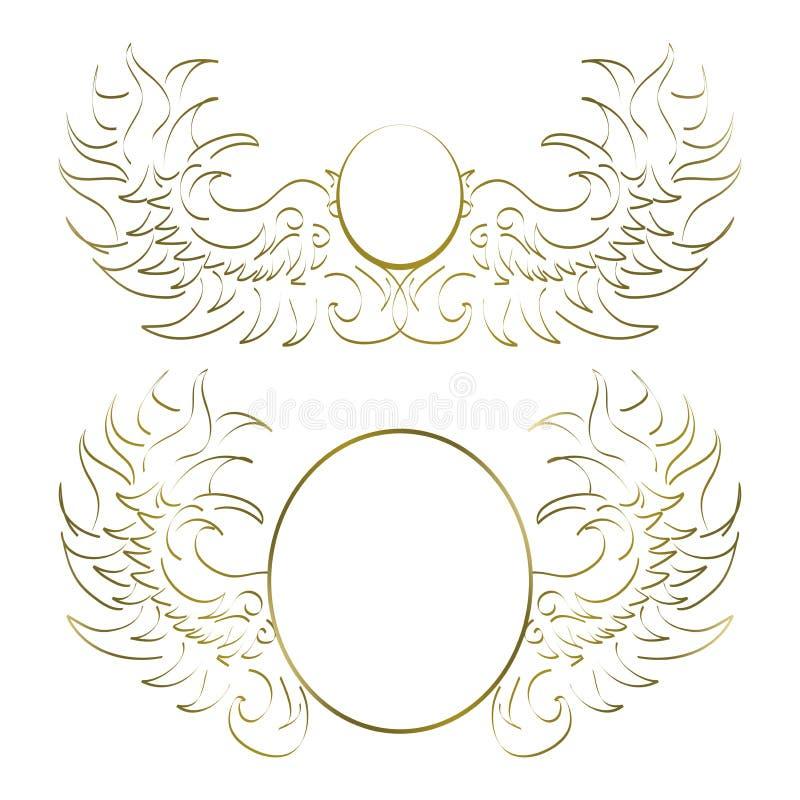 Δύο άσπρα και χρυσά αφηρημένα σχέδια για να τοποθετήσει το λογότυπο ελεύθερη απεικόνιση δικαιώματος