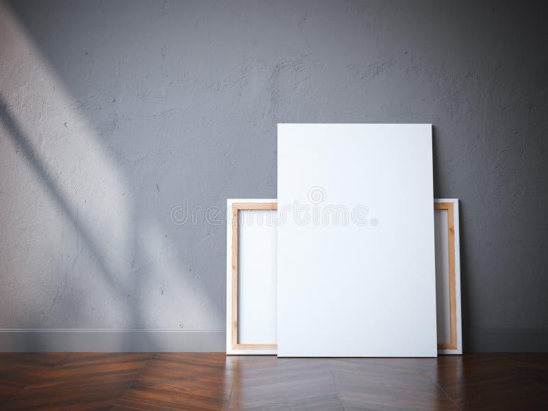 Δύο άσπρα canvases στο ξύλινο πάτωμα τρισδιάστατη απόδοση απεικόνιση αποθεμάτων