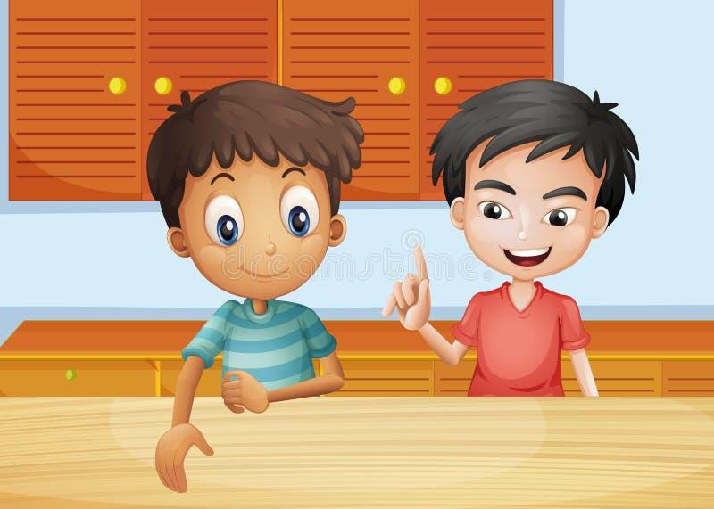 Δύο άτομα μέσα στην κουζίνα ελεύθερη απεικόνιση δικαιώματος