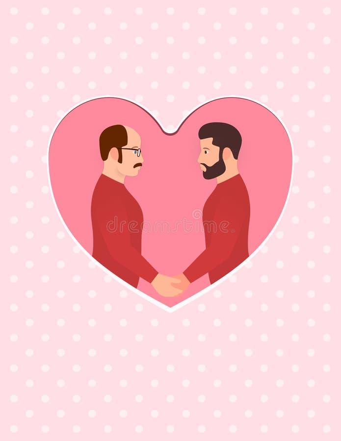 Δύο άτομα, πολυφυλετικό ομοφυλοφιλικό ζεύγος ερωτευμένο, κρατώντας τα χέρια και εξετάζοντας κάθε άλλα μάτια Ευχετήρια κάρτα για ε απεικόνιση αποθεμάτων