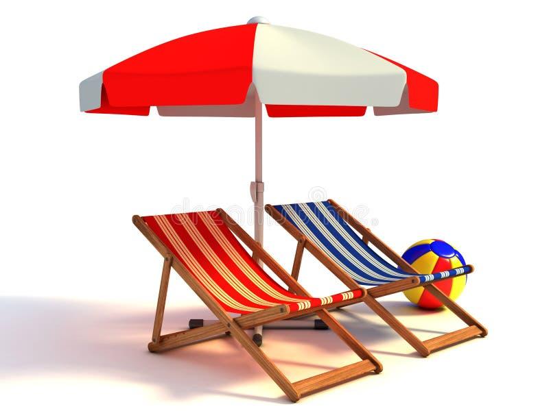 Δύο έδρες παραλιών κάτω από sunshade ελεύθερη απεικόνιση δικαιώματος