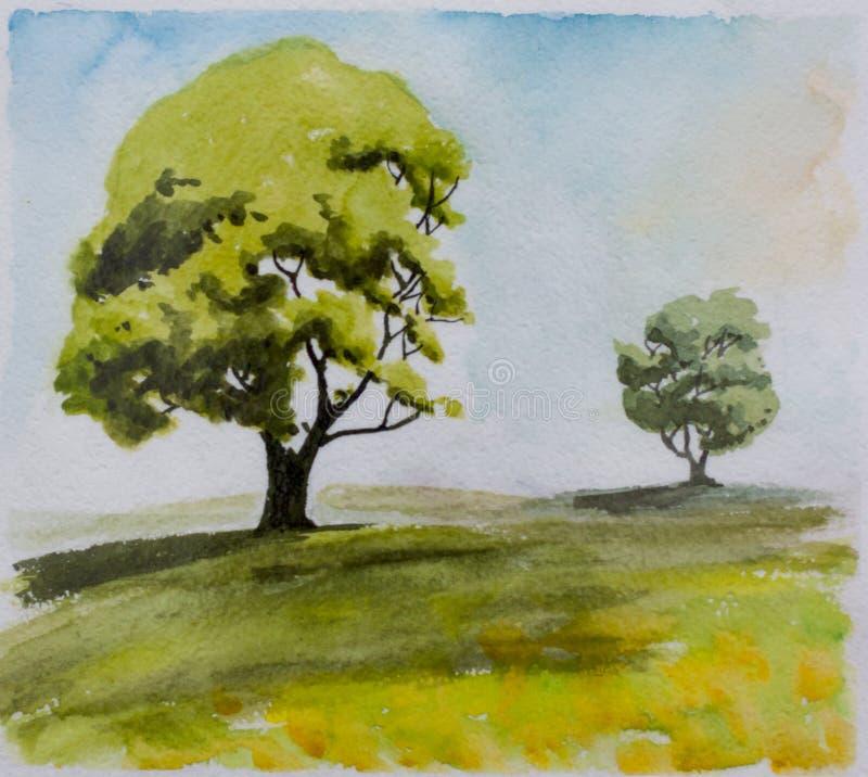Δύο δέντρα σε μια απόσταση διανυσματική απεικόνιση