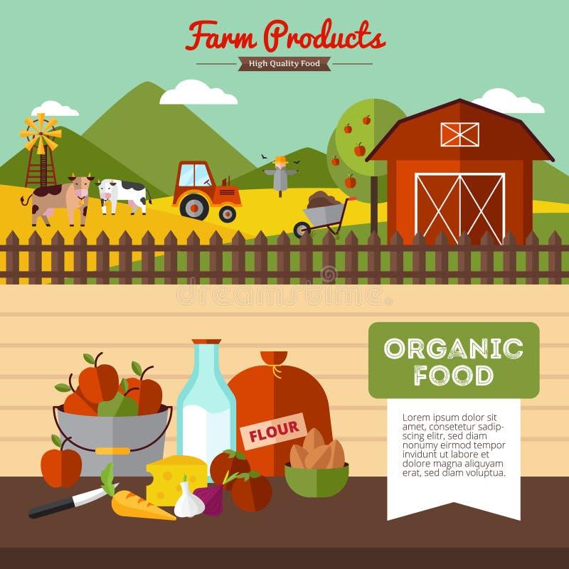 Δύο αγροτικά εμβλήματα στο επίπεδο ύφος ελεύθερη απεικόνιση δικαιώματος