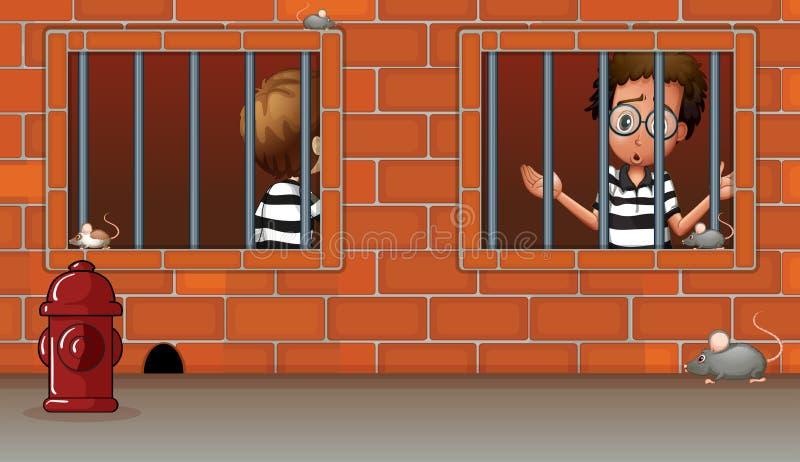 Δύο αγόρια μέσα στη φυλακή ελεύθερη απεικόνιση δικαιώματος