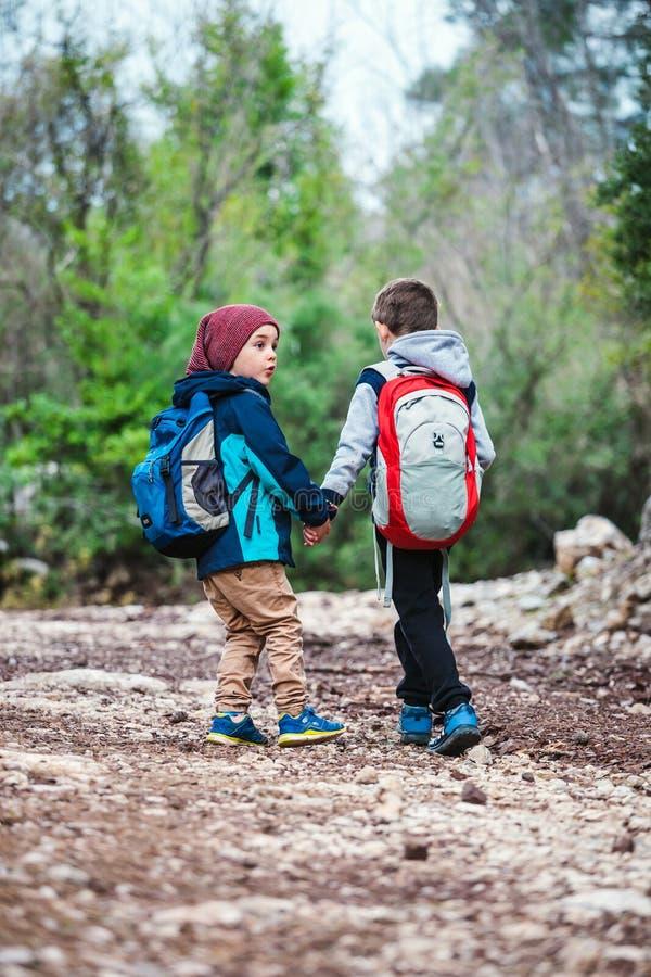 Δύο αγόρια με τα σακίδια πλάτης περπατούν κατά μήκος μιας δασικής πορείας στοκ εικόνες