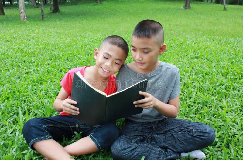 Δύο αγόρια που διαβάζουν στο πάρκο στοκ εικόνα
