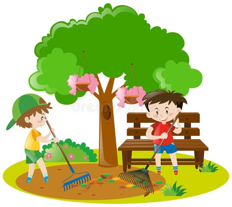 Δύο αγόρια που μαζεύουν με τη τσουγκράνα τα φύλλα στον κήπο διανυσματική απεικόνιση