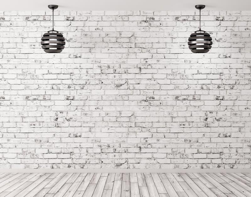 Δύο λαμπτήρες ενάντια του εσωτερικού υποβάθρου τουβλότοιχος τρισδιάστατου δίνουν ελεύθερη απεικόνιση δικαιώματος
