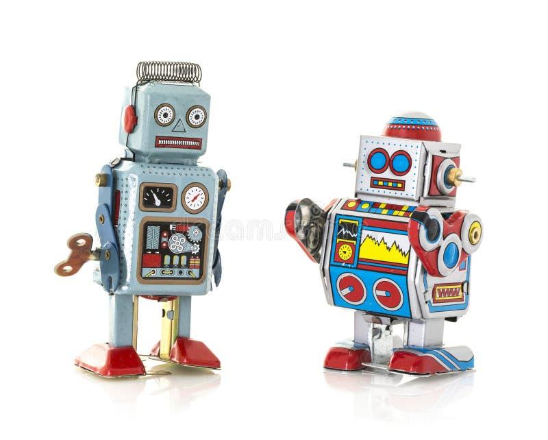 Δύο αναδρομικά ρομπότ κασσίτερου στοκ φωτογραφία