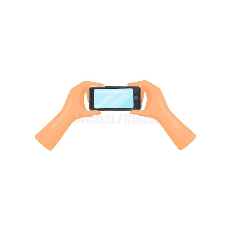 Δύο ανθρώπινα χέρια που κρατούν το smartphone οριζόντια κινητή αφή τηλεφωνικής οθόν συσκευή σύγχρονη Επίπεδο διανυσματικό εικονίδ ελεύθερη απεικόνιση δικαιώματος