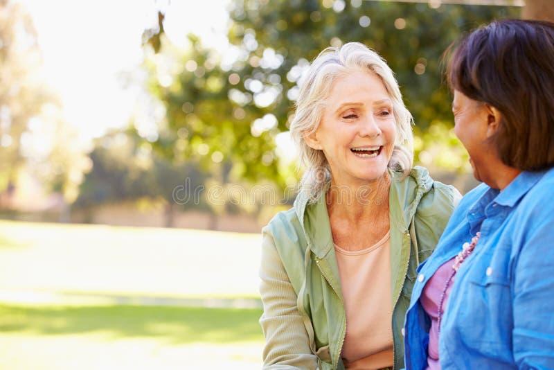 Δύο ανώτερες γυναίκες που μιλούν υπαίθρια από κοινού στοκ φωτογραφία