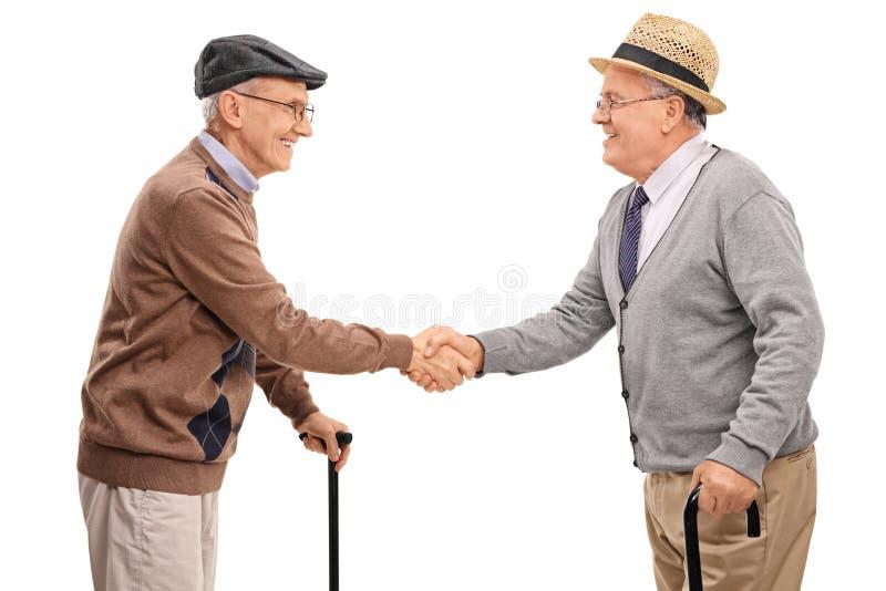 Δύο ανώτεροι κύριοι που τινάζουν τα χέρια στοκ εικόνα με δικαίωμα ελεύθερης χρήσης