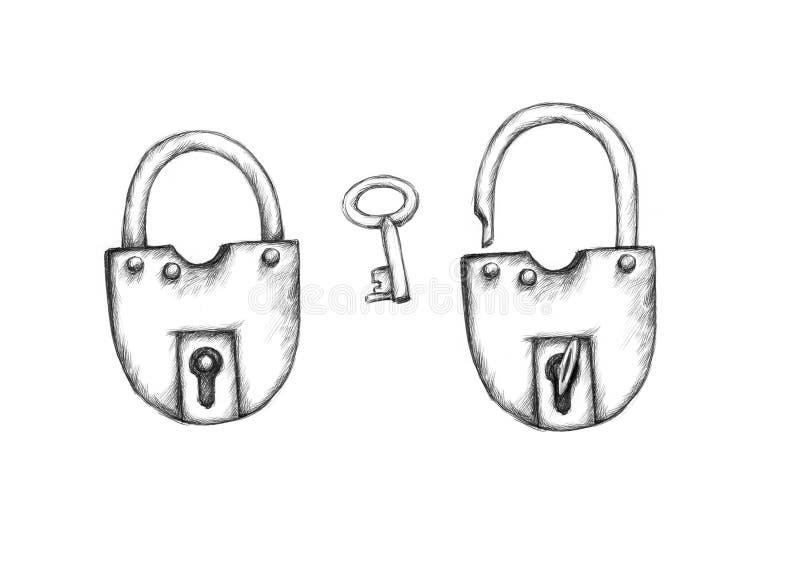Δύο απλά λουκέτα και ένα κλειδί ελεύθερη απεικόνιση δικαιώματος
