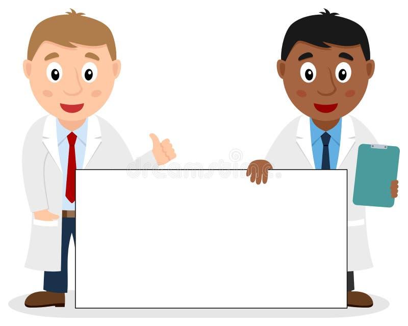 Δύο αρσενικοί γιατροί με το κενό έμβλημα απεικόνιση αποθεμάτων