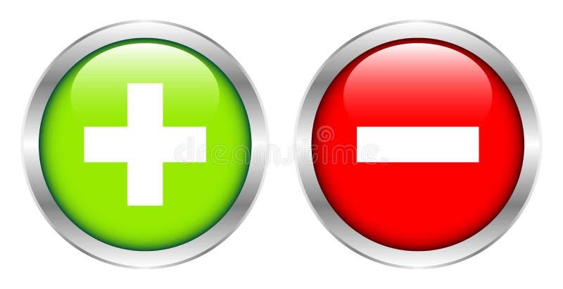 Δύο ασημένια πλαισιωμένα κουμπιά συν και μείον πράσινος και κόκκινος απεικόνιση αποθεμάτων