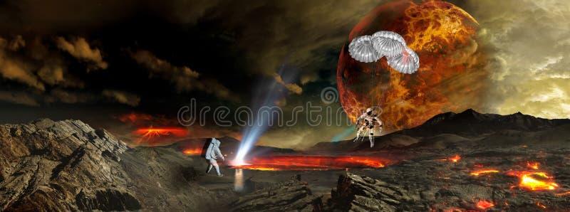 Δύο αστροναύτες που προσγειώνονται στον απόμακρο αλλοδαπό πλανήτη απεικόνιση αποθεμάτων