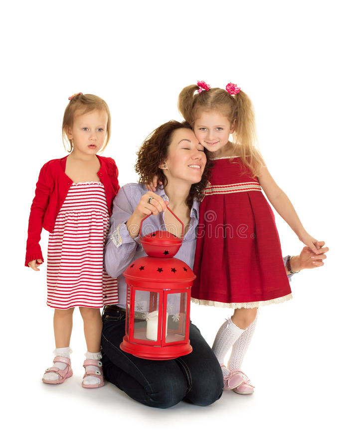 Δύο αδελφές με τους γονείς τους στοκ εικόνες με δικαίωμα ελεύθερης χρήσης