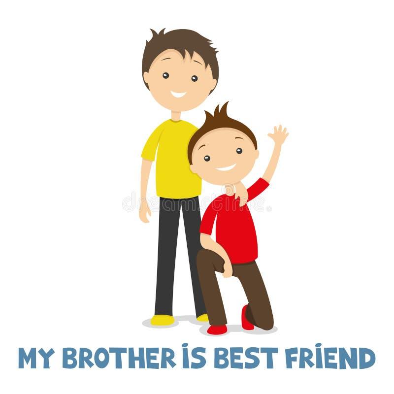 Δύο αδελφοί από κοινού διανυσματική απεικόνιση