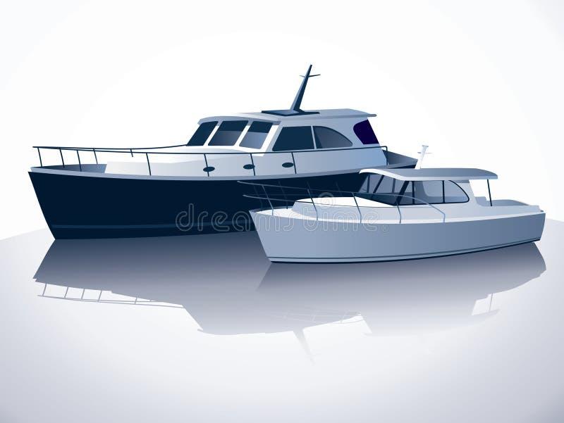 Δύο βάρκες σε ένα άσπρο υπόβαθρο ελεύθερη απεικόνιση δικαιώματος