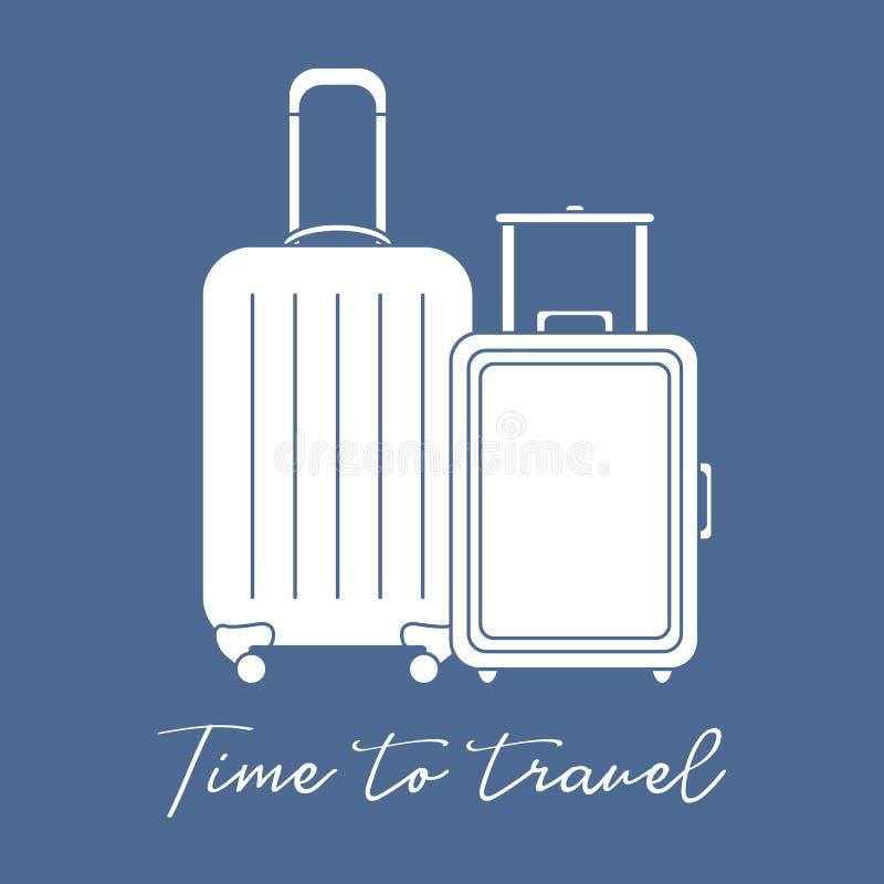 Δύο βαλίτσες Θερινός χρόνος, διακοπές leisure διανυσματική απεικόνιση