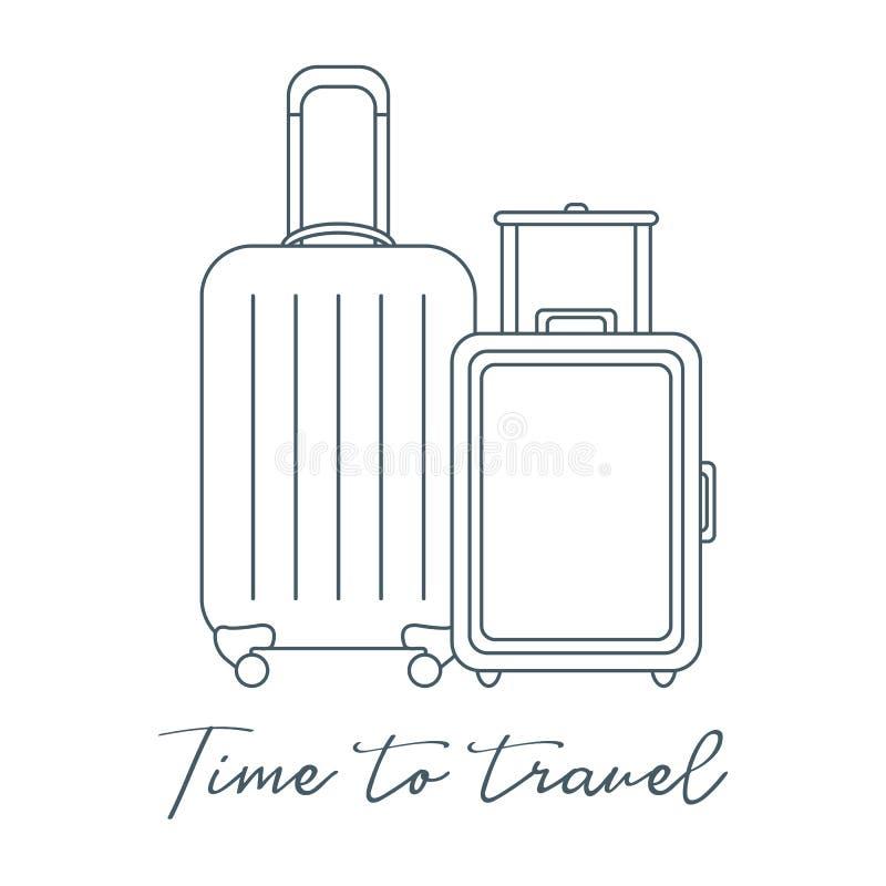 Δύο βαλίτσες Θερινός χρόνος, διακοπές leisure απεικόνιση αποθεμάτων