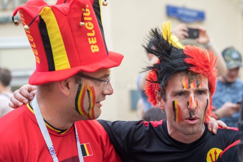 Δύο βελγικοί οπαδοί αθλήματος στη Μόσχα στοκ φωτογραφία