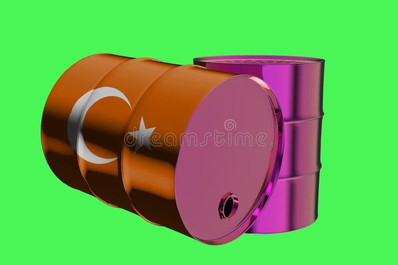 Δύο βιομηχανικά βαρέλια πετρελαίου μετάλλων με την τουρκική τρισδιάστατη απόδοση σημαιών ελεύθερη απεικόνιση δικαιώματος